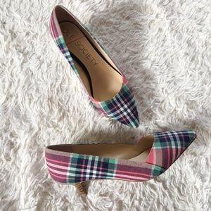 SOLE SOCIETY Desi Plaid Kitten Heels